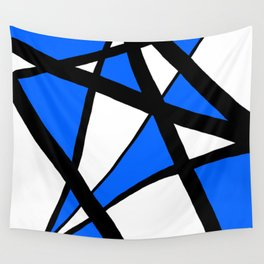 China Blue Geometric Triangle Abstract Wall Tapestry