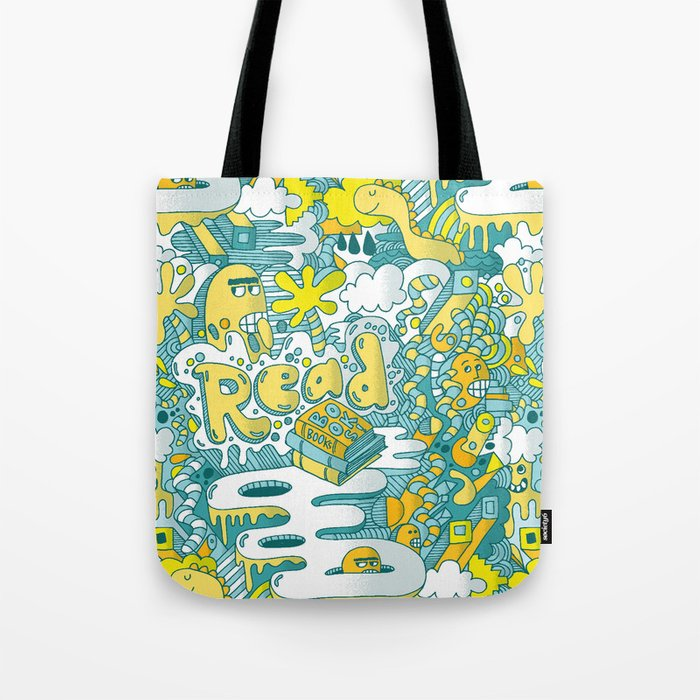 READ BOOKS LITTLE MONSTERS Tote Bag