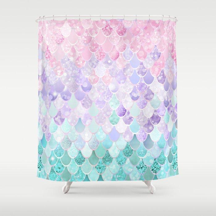 Mermaid Pastel Iridescent Shower Curtain