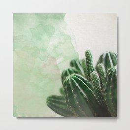 Cacti Green Watercolor Metal Print