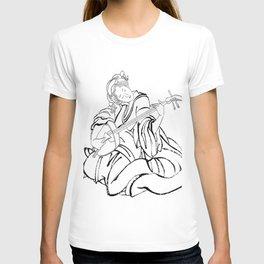Hokusai, a woman and a shamisen -manga, japan,hokusai,japanese,北斎,ミュージシャン T-shirt