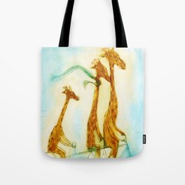 Family of giraffes rides a bicycle-tandem Tote Bag