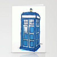 tardis Stationery Cards featuring Tardis by Stepharooskie