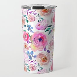 Lilac pink lavender hand painted watercolor roses floral Travel Mug