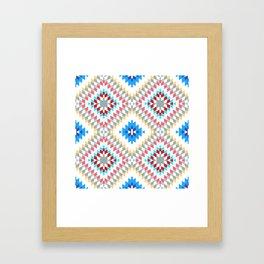 Colorful patchwork mosaic oriental kilim rug with traditional folk geometric ornament Framed Art Print
