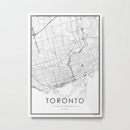 Toronto City Map Canada White and Black Metal Print