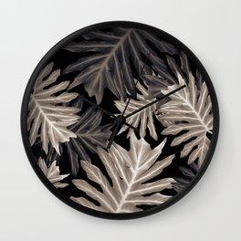 Philo Hope - Tropical Jungle Leaves Pattern #4 #tropical #decor #art #society6 Wall Clock