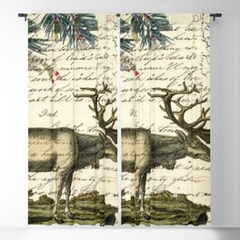 western country primitive christmas mountain animal wildlife winter pine tree elk Blackout Curtain