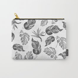 Plam Pattern Light Black and White Carry-All Pouch