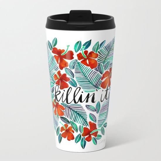 Killin' It – Tropical Red & Green Metal Travel Mug