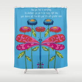 Law of Attraction Dragonfly Shower Curtain