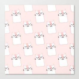 Cats Pattern Pink Canvas Print