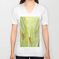 flora V-neck T-shirts featuring flora by Louisa Stickney-Keats