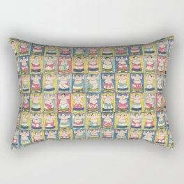Sumo Wrestlers Japanese Vintage Print Rectangular Pillow