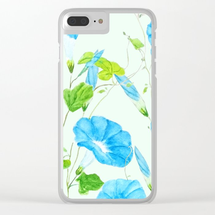 blue morning glory pattern Clear iPhone Case