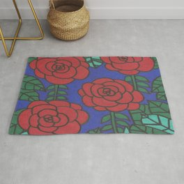 Red Roses Stained Glass Drawing Rug