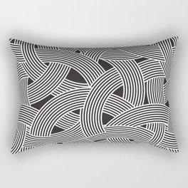 Modern Scandinavian B&W Black and White Curve Graphic Memphis Milan Inspired Rectangular Pillow