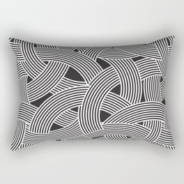 Modern Scandinavian B&W Black and White Curve Graphic Memphis Milan Inspired Rectangular Pillow