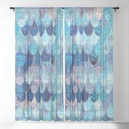SUMMER MERMAID DARK TEAL Sheer Curtain