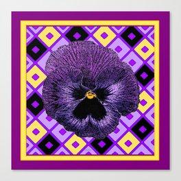 Yellow & Purple Checkered Pansy Pattern Canvas Print