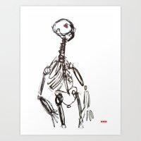 skeleton Art Prints featuring Skeleton by Myles Hunt