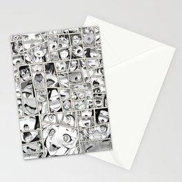Ahegao Hentai Girls Collage B&W Comic Panels Stationery Cards