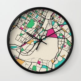 Colorful City Maps: Montreal, Canada Wall Clock