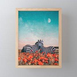 Zebras in a flower field Framed Mini Art Print