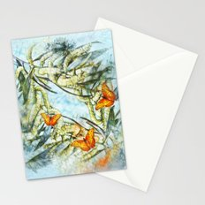 beautiful painted butterflies on wattle Stationery Cards