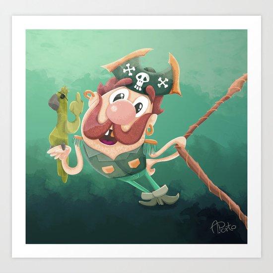 Barry the Buccaneer & his moody mate Cuckachoo Art Print
