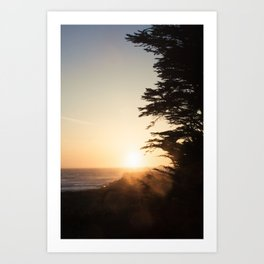 Misty sunset, Fort Bragg, Northern California Art Print