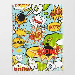 Comic boom seamless pattern Poster