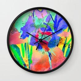 Fluorescent Watercolor Iris Art - Sun Yellow & Peach Wall Clock