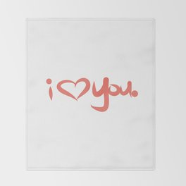 I Love You in Peach Throw Blanket