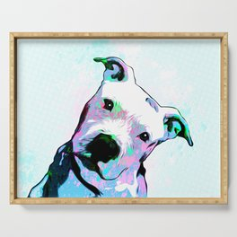 Pit bull - Puzzled - Pop Art Serving Tray