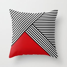 Black and white stripes with red triangle Throw Pillow