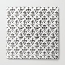 Damask Pattern | Black and White Metal Print
