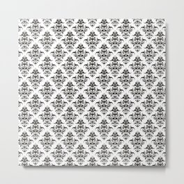Damask Pattern | Vintage Patterns | Victorian Gothic | Black and White | Metal Print