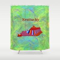 kentucky Shower Curtains featuring Kentucky Map by Roger Wedegis