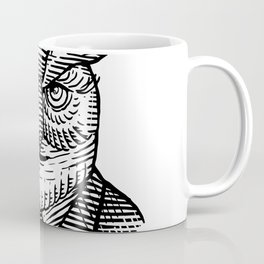 Hipster Owl Suit Woodcut Coffee Mug