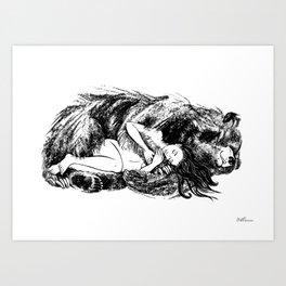 I love my Bear (Black and white) Art Print