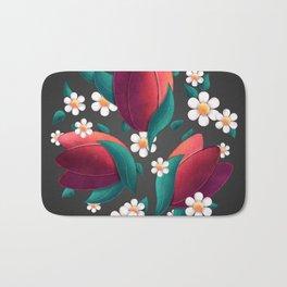 Bouquet (Tulipes et Marguerittes) Noir Bath Mat