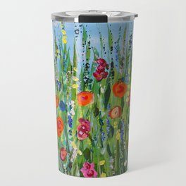Wildflower Meadow2, Abstract Floral Art, Flower Field Travel Mug