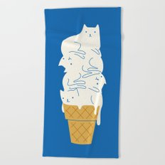Cats Ice Cream Beach Towel