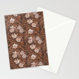 White roses in earth shades Stationery Cards