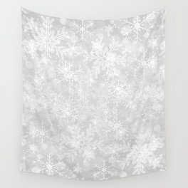 Silver Snowflakes Wall Tapestry