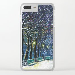 Snowy night park Clear iPhone Case