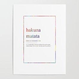 HAKUNA MATATA 292 Watercolor Map Yoga Quote Defini Poster