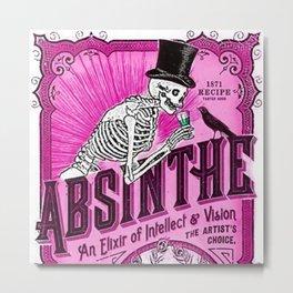 Vintage 1871 Absinthe Pink Liquor Skeleton Elixir Aperitif Cocktail Alcohol Advertisement Poster Metal Print
