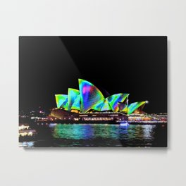 Sydney Opera House Vivid Light Show Metal Print